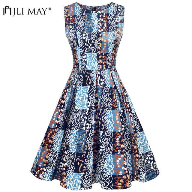 JLI MAY Elegant Print Plaid Midi Dress O-Neck A-Line Sleeveless Women  Christmas e4eab49f45c3