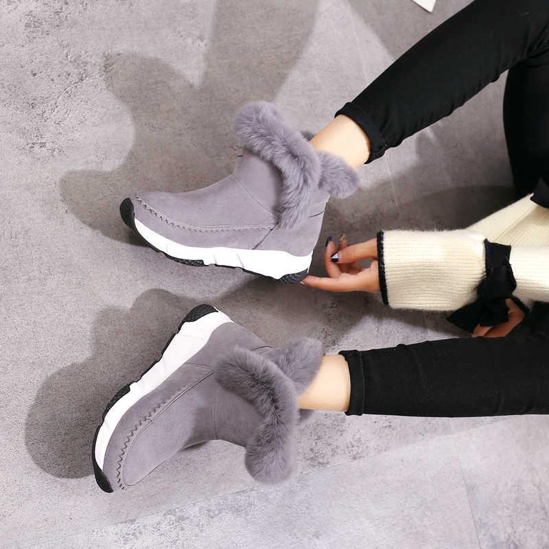 2018 nieuwe Winter Wig Patchwork Faux Fur Fashion Vrouwen Schoenen Vrouw Laarzen Platform Warme Snowboots Femme Dames Laars Zwart GRIJS