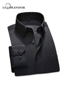 unisplendor 2019 Men Dress Shirt Long Sleeve Black Male Fit