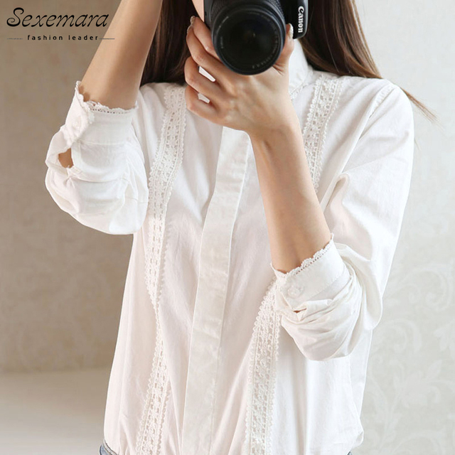 White embroidery Blouse Women office Button Lace mori girl Down Collar Splice Long Sleeve Cotton Tops Shirt Plus Size feminina