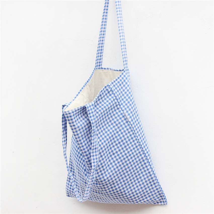YILE  Cotton Linen Shopping Tote Shoulder Carrying Bag Eco Reusable Bag Blue Plaid L130