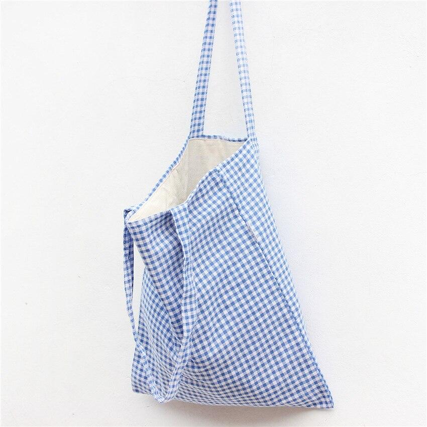 YILE  Cotton Linen Shopping Tote Shoulder Carrying Bag Eco Reusable Bag Blue Plaid L130