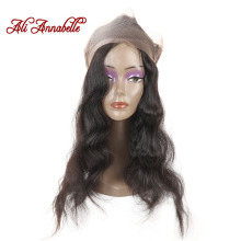 Ali ANNABELLE HAIR Brazilian Body Wave Pre-Plucked 360 Lace Frontal Closure With Baby Hair Free Part 100% Remy Human Hair