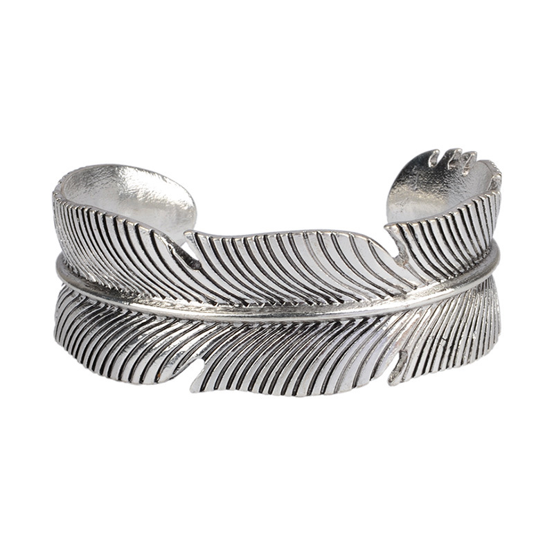 2018 Newest Feather Quotes Bracelets Steel Open Cuff Bangle Fashion Women Female Inspirational Jewelry Bracelet