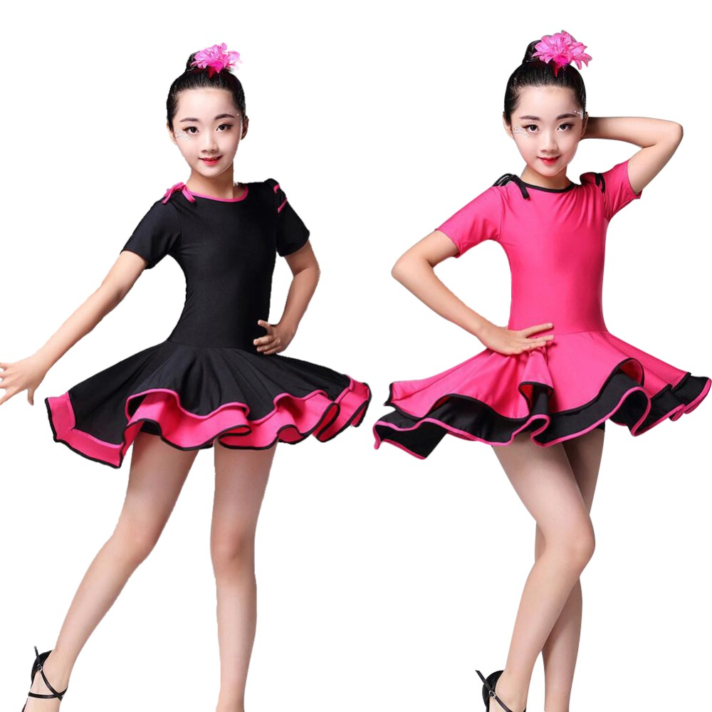 Girls Latin Rumba Dance Dress Flamenco Tango Ballroom Dancing wear Costumes Match Headpiece black backless latin dance dress women latin dress dancing clothes dancewear rumba dress latina salsa dress latin dance costumes