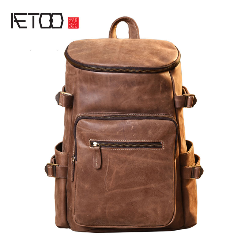 AETOO Original handmade mad horse leather shoulder bag male art retro mountaineering bag travel backpack mad horse skin leather aetoo the new retro mad horse skin backpack fashion shoulder shoulder leather package tide package