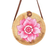 Womens rattan bag ins Vietnam hand-woven embroidery round shoulder 2019 summer new beach diagonal womens