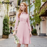 SIMPVALE Bow Tie Stand Collar Chiffon Pleated Dress Women Pink Elastic High Waist Dresses Female Fashion
