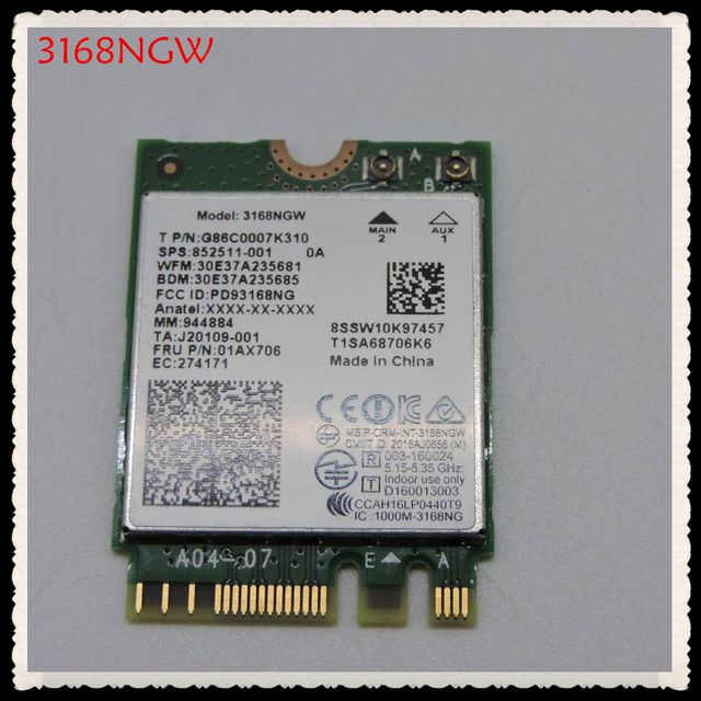 Brand new for Intel 3168NGW Dual band Wireless AC 3168 3168 AC 433Mbps intel3168 bluetooth 4.2 802.11ac WiFi Network Card