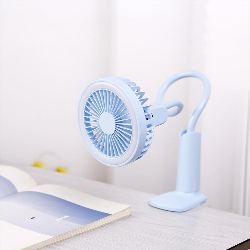 Ventilador portátil USB flexible con luz LED 2 Velocidad Ajustable Cooler Mini ventilador práctico escritorio pequeño escritorio USB ventilador para el niño