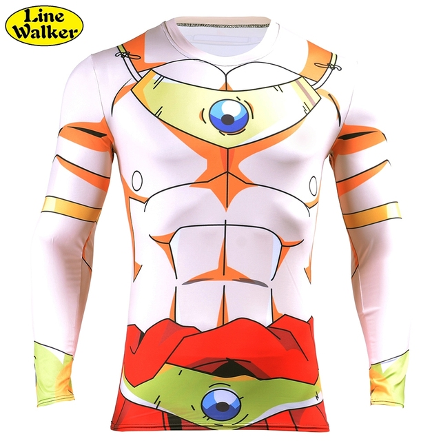 Line WalkerLong Sleeve T Shirt for Men Casual tees Anime Dragon Ball Z Super Saiyan Broli Harajuku tee shirts T-Shirt titness