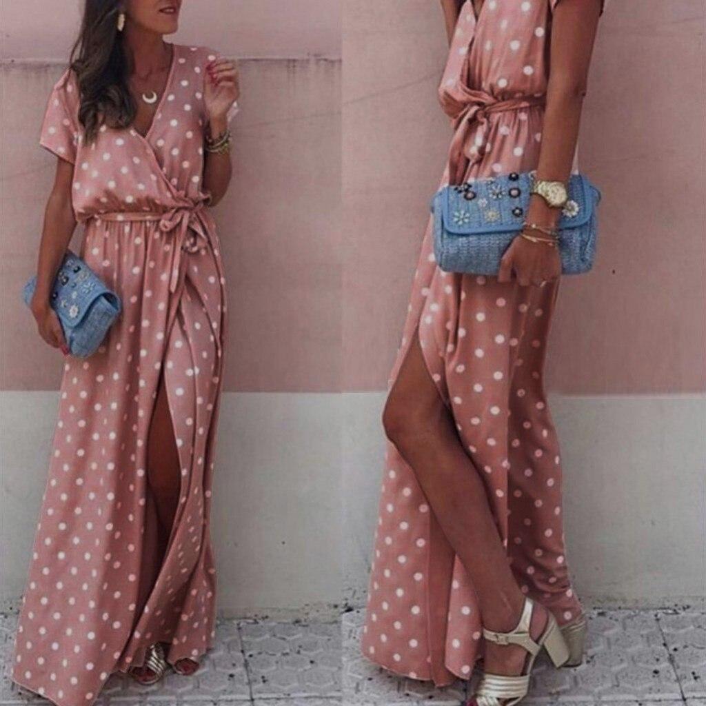 Women Sexy Pink Wave Point V-Neck Maxi Dress Female Fork Opening Long Dress Belt Ladies Sexy Polka-dot Split Dress Vestido Boho