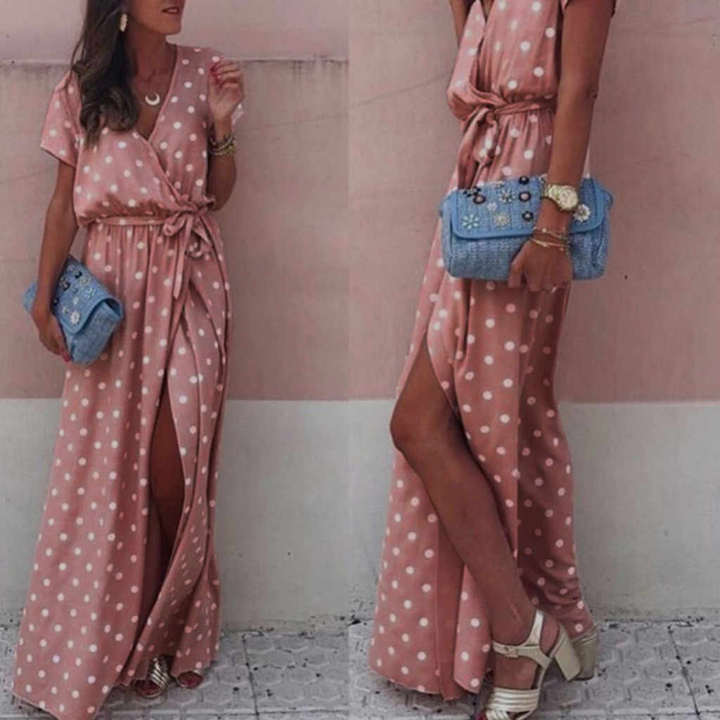 Women Sexy Pink Wave Point V-Neck Maxi Dress female Fork Opening Long Dress Belt Ladies sexy polka-dot split dress vestido boho