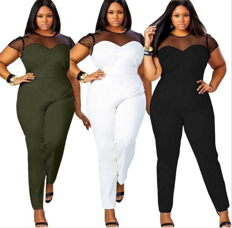 Summer L- 4XL Plus Size Women Jumpsuit Maxi 2018 Romper Big Large Size Jumpsuit Casual Sportwear Playsuits New