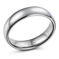 SWEETV 6mm Classic Dome Polished Tungsten Rings Comfort Fit Wedding Ring Bands For Men And Women