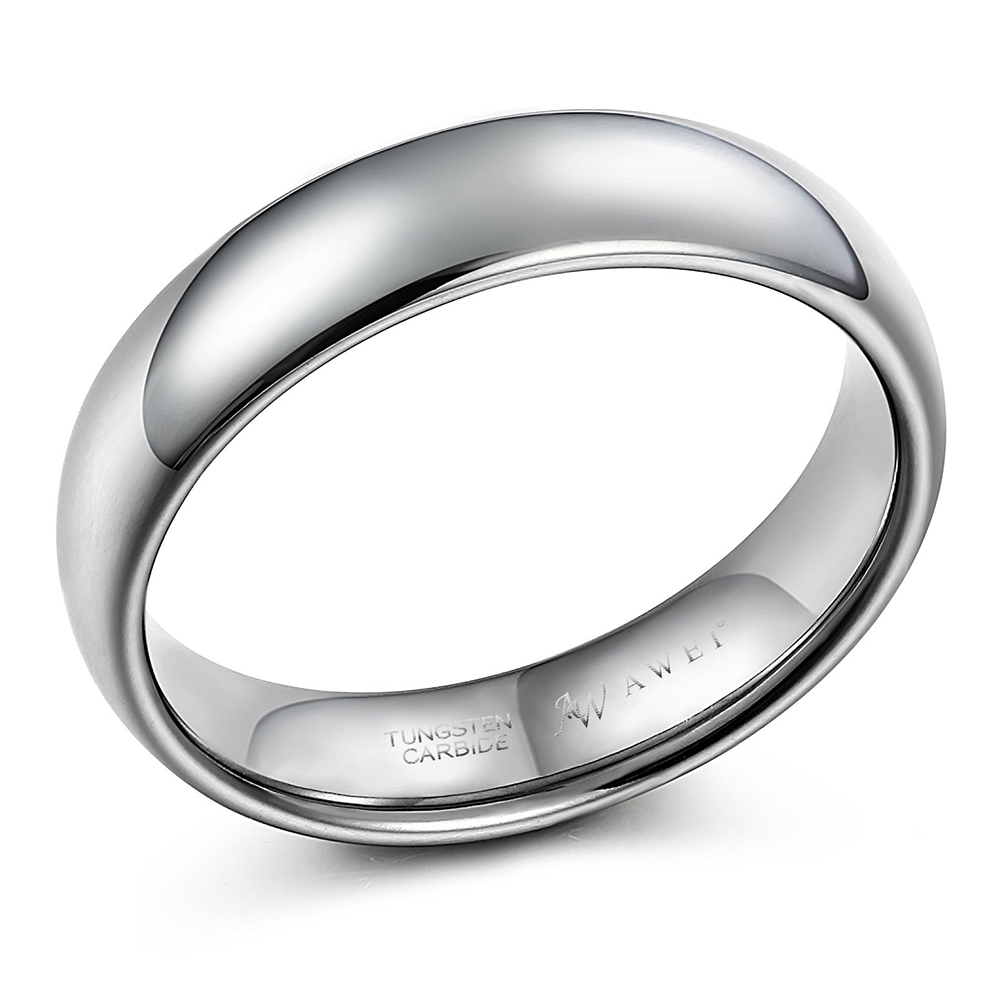 sweetv 6mm comfort fit tungsten carbide ring dome polished
