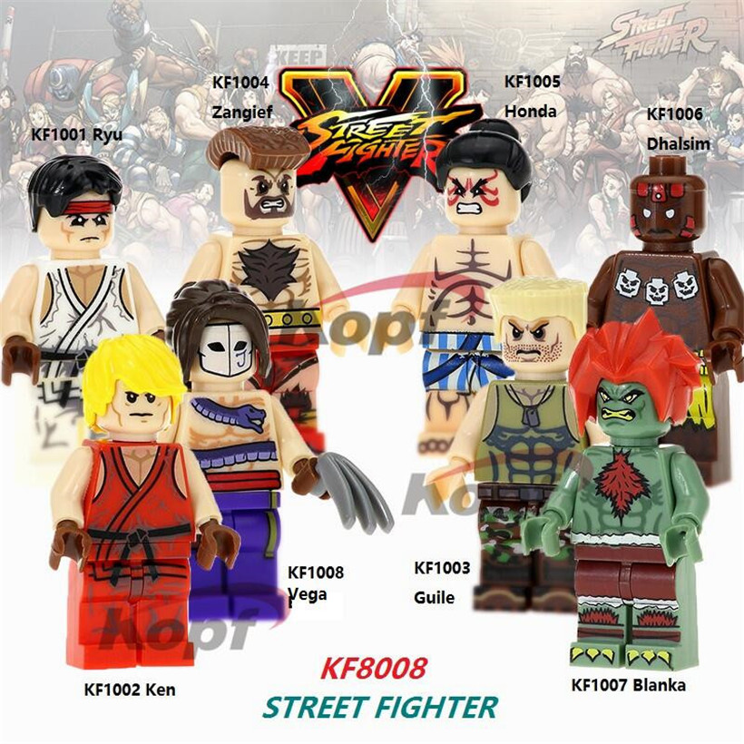 Building Blocks Single Sale Ryu Zangief Honda Guile Ken Street Fighter Dhalsim Super Heroes Bricks Children Gift Toys KF8008 super heroes single sale the villain of yellow lantern skeletor heman he man he man building blocks toys for children gift kf921