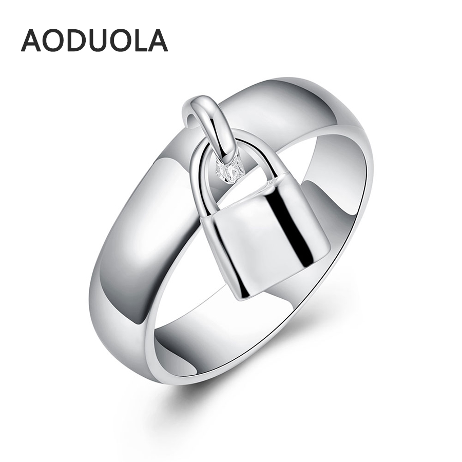 Lock-Rings Jewelry Wedding-Ring Engagement Silver-Plated Round Ladies Love Women