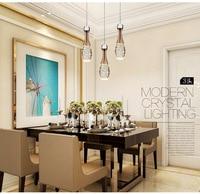 modern romantic dinner room led bubble crystal pendant light crystal lamp Cafe bar hanging lamp 3 heads light