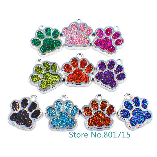 10pcs HC358 Bling Enamel Cat Dog/Bear Paw Prints fit Rotating Key Chain Keyrings