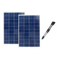 Panel słoneczny 12V 100W polikrystaliczny 2 sztuk/partia Zonnepanelen 200W ładowarka solarna 2 W 1 złącze Yachting łódź morska w Ogniwa słoneczne od Elektronika użytkowa na