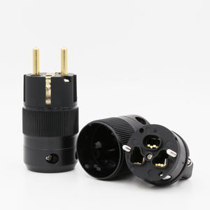 Image 2 - زوج من قابس الطاقة Schuko AC ، مطلي بالذهب عيار 24 قيراط ، غير مطبوع ، موصل طاقة IEC ، GE GC