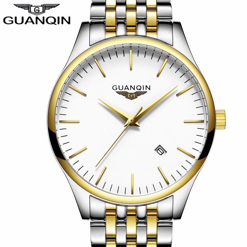 GUANQIN Watches Men Fashion Stainless Steel Wristwatch Waterproof Quartz Watch Calendar Round Relogio Masculino masculino reloje weide popular brand new fashion digital led watch men waterproof sport watches man white dial stainless steel relogio masculino