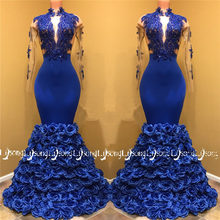 Sexual 3D Flowers Royal Blue Party Wear Homecoming Maxi Gowns Dark Skin  Young Lady Formal Maxi Dress South African Vestido Festa 0994e2ebedbe