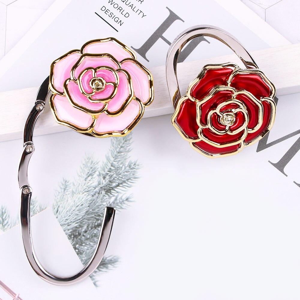 Pink Beautiful Flowers Petals Table Hook Folding Bag Desk Hanger Foldable Holder