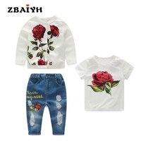 Kids Clothes 3pcs Sets Autumn Winter Children Clothe Girls Flower Fashion Cotton Set White Coat+Short T shirts+ Holes Jeans Suit