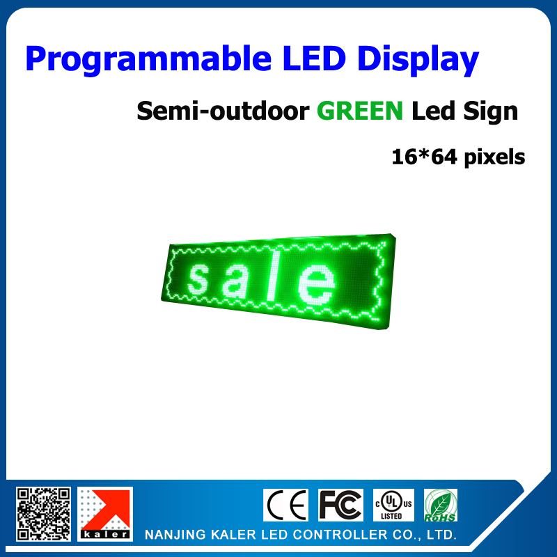 LED Electronic Scrolling Display Message LED <font><b>Billboard</b></font> Green LED <font><b>Sign</b></font> Semi-outdoor Advertising Board 16*64 pixel 25*73cm image