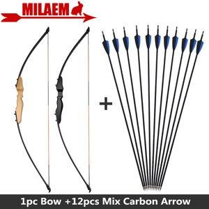 Image 1 - 1 комплект прямой лук для стрельбы из лука 40 фунтов карбоновые стрелы сменные наконечники черные синие резиновые перья Рекурсивный лук стрельба Охота Аксессуары