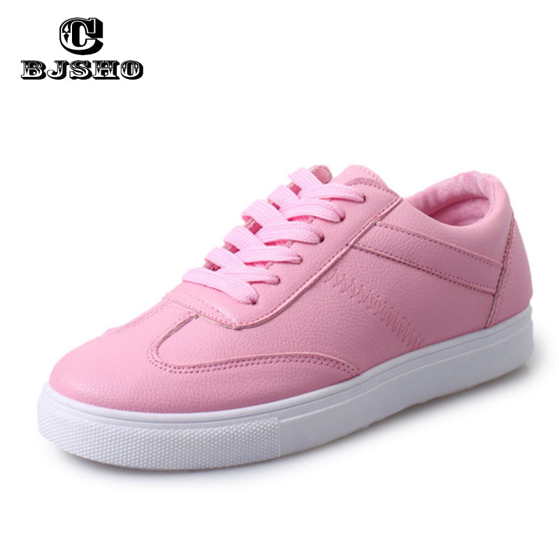 CHJSHO New Korean font b Women b font Casual Shoes Lace up Spring Autumn PU Breathable