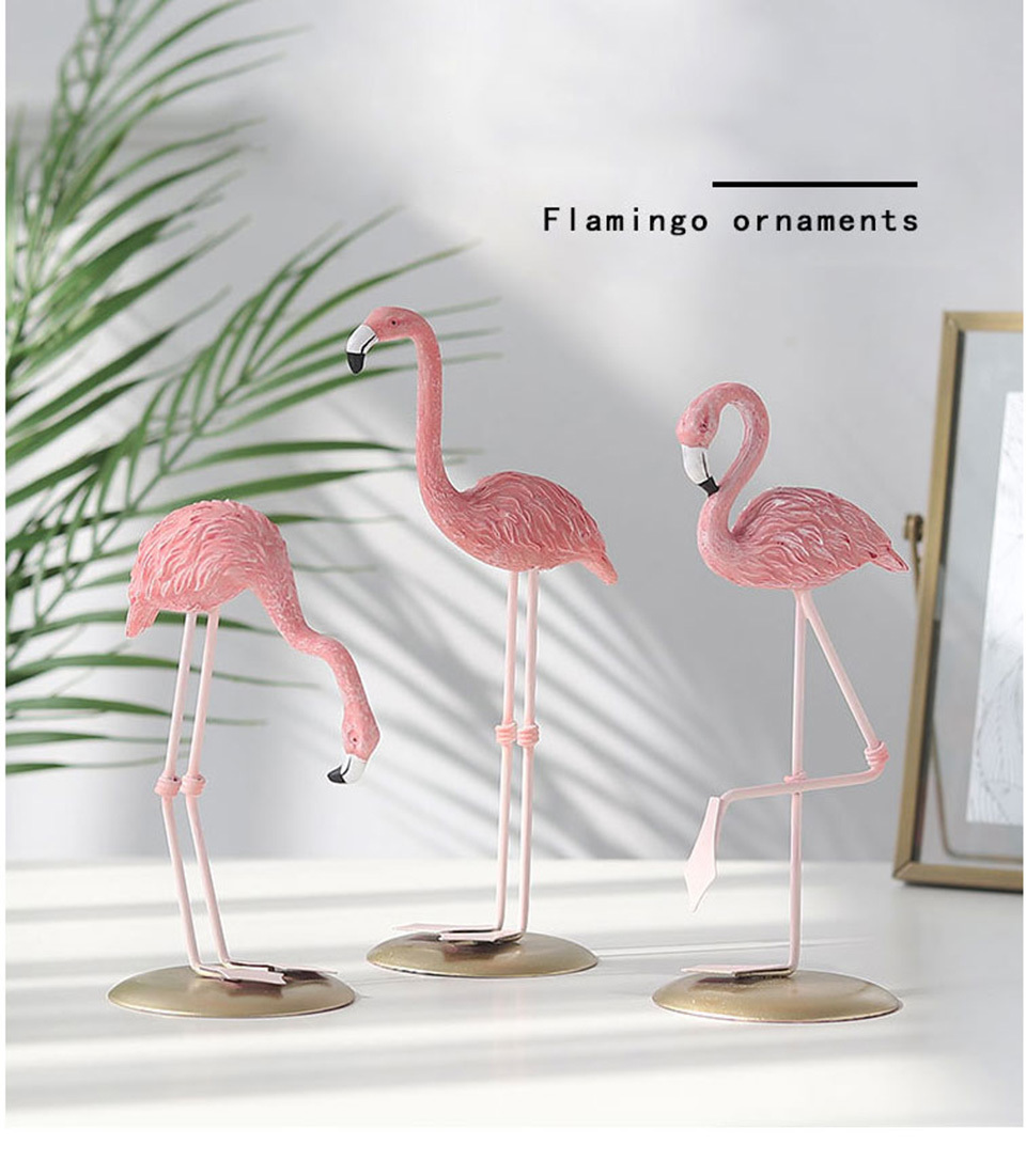 Ornament Home Decoration Flamingo Animal-Shape Living-Room Resin Pink Cute 1pcs Mylb