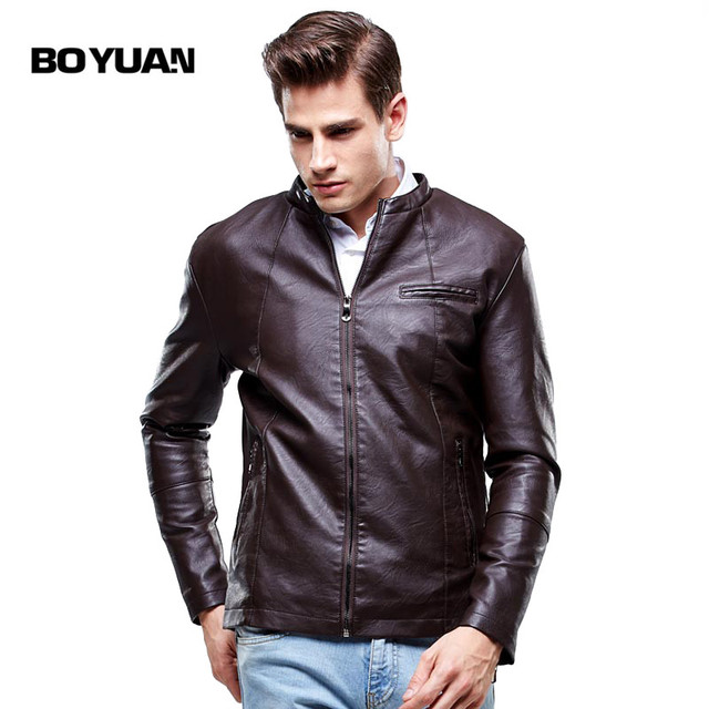 BOYUAN Motorcycle Leather Jackets Men Leather Clothing Men Leather Jackets Male Business casual Coats Brand New clothing 8603
