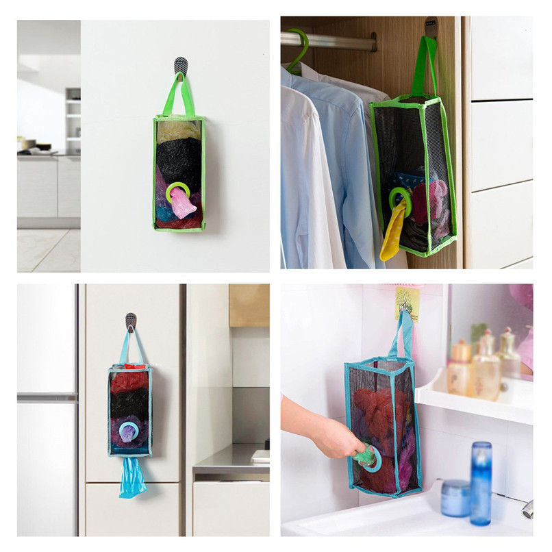 1PC Storage Bags Kitchen Hanging Type Breathable Mesh Grid Garbage Bags folding Storage Bag Convenient Extraction Pouch Bag Ja08 (5)