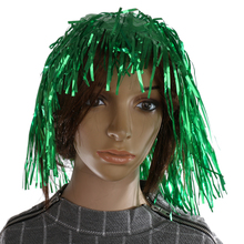 2 Pieces Green Purple Shiny Tinsel Wigs Fancy Dress Costume Metallic Hen Stag Party Accessory