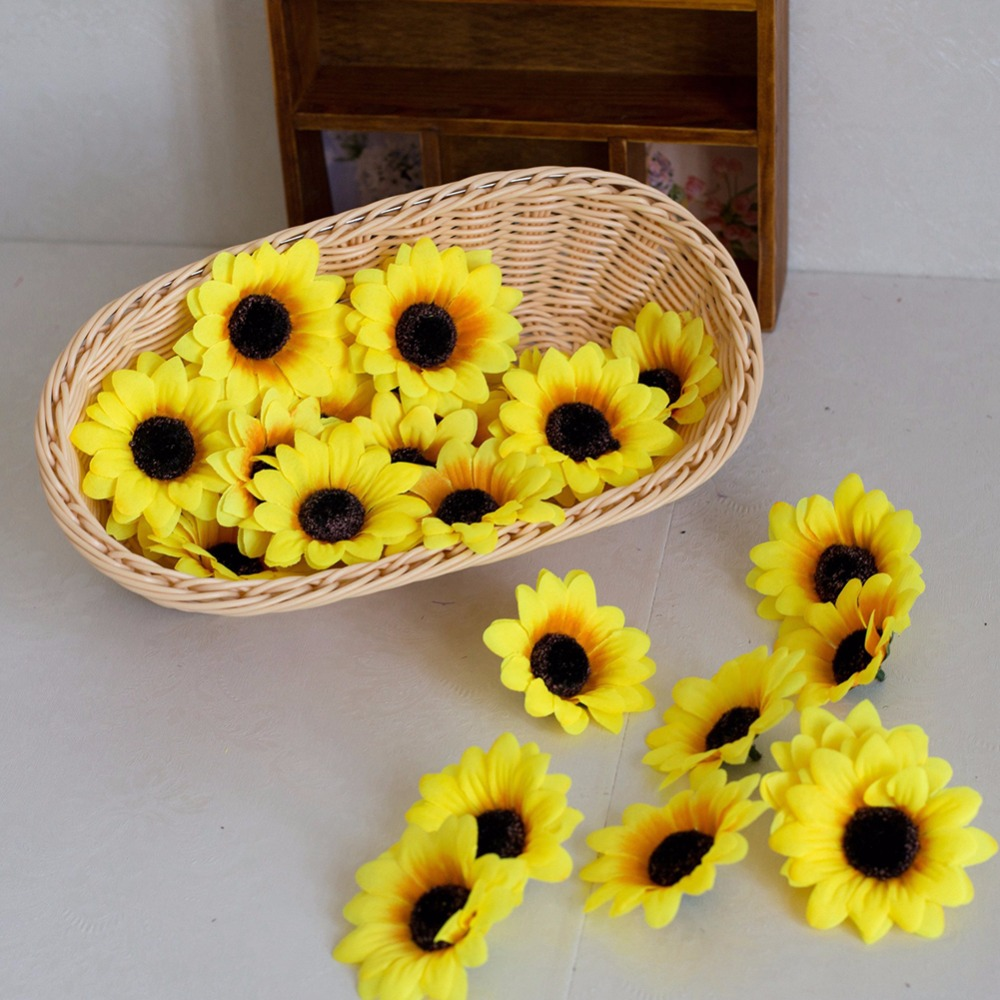 Easter Flowers Wedding: 98Pcs Flower 12Leaf Sunflower Artificial Sunflowers Yellow