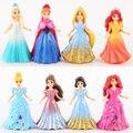 Hot Princesa Elsa Anna MagiClip Rapunzel Ariel Blancanieves Cenicienta Belle Merida 8 UNIDS Pequeña Muñeca de Moda Figura Juguetes
