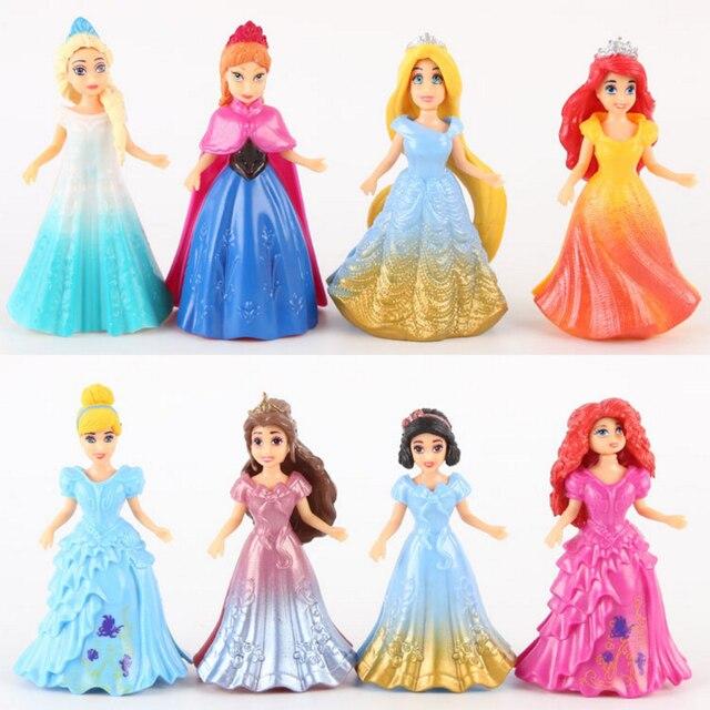 Hot Princesa MagiClip Elsa Anna Merida 8 PCS Branca de Neve Cinderela Belle Ariel Rapunzel Boneca Pequena Moda Figura Brinquedos