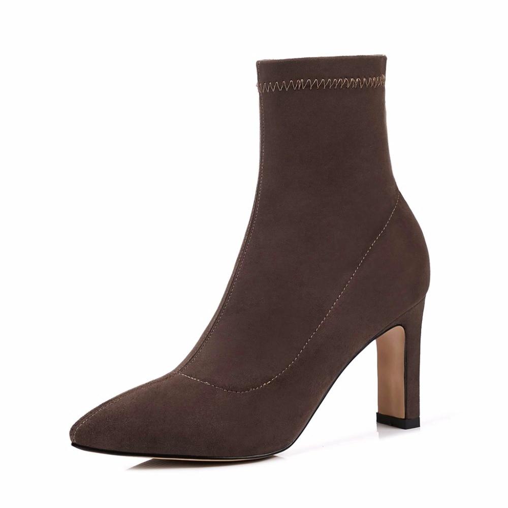 Slip Solid Negro Botas Nueva Heels Bucke Med marrón Vacaciones khaki brown L00 On Moda Lenkisene Toe Strange Decoración Citas Pointed Mujeres Flock zqdWU