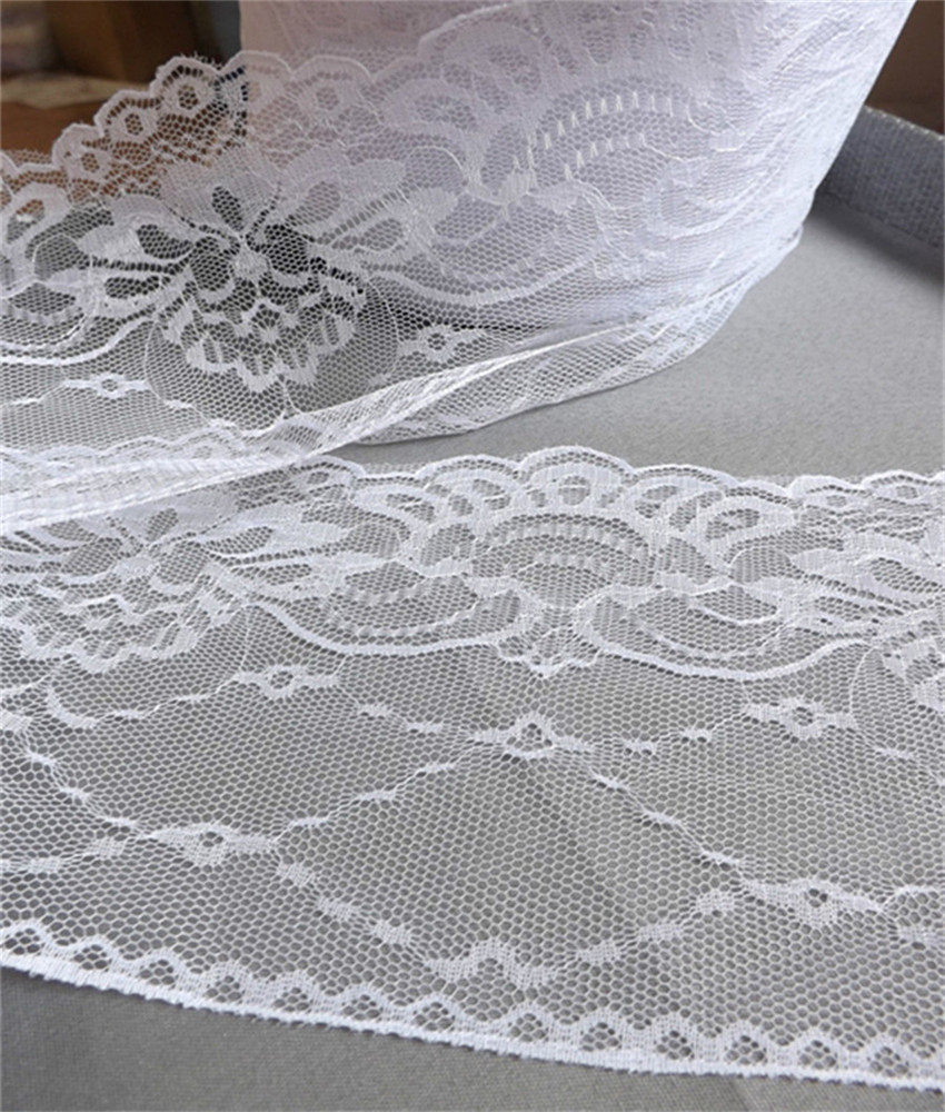 Width 132mm 5yards 7color Embroidered Net Lace Trim fabric Garment ribbon headband wedding party decoration gift