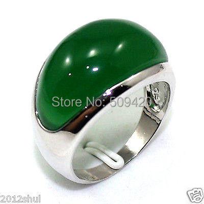 XFS20141er>>ESTATE FINE Real Green Jade Silver Ring Size 8-9#