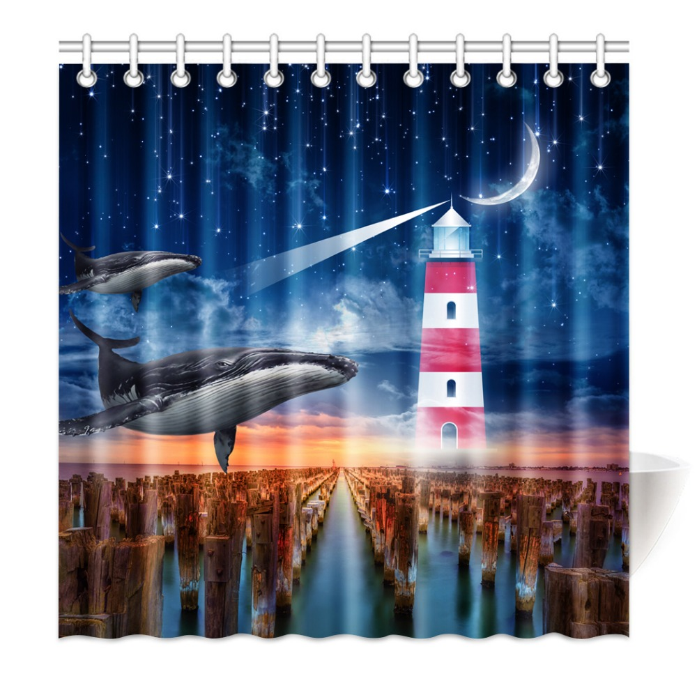 Shower Curtain Dolphin In The Sky Flying Lighthouse Meteor Moo Waterproof Mildewproof Polyester Fabric Bath Curtain Set