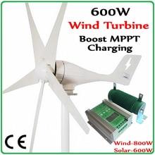 600W Wind turbine Generator Power System MAX 830W + Hybrid 1000w Solar Controller wind solar 400W