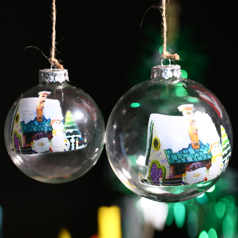 Transparent Glass Ball Christmas Ornament Bauble / Snowman House / Xmas Tree Pendant Window Outdoor Decor Freeshipping