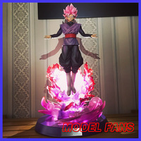 MODEL FANS sold out Dragon Ball Z 38cm super saiyan rose goku black gk statue contain led light figure toy for Collection
