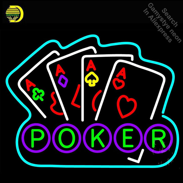 Poker Ace Lucky Neon Sign Neon Bulbs Sign love GLASS Tube Handcraft neon Light Signs Advertise cool vintage lamps Dropshipping