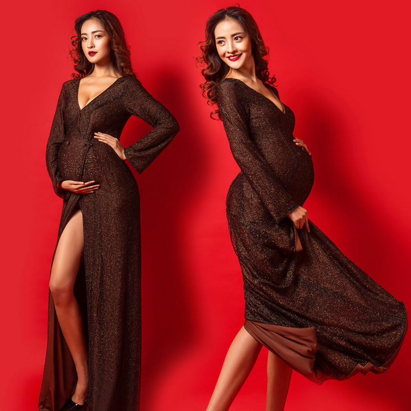 V-Neck Maternity Dresses Photography Props Gown Fancy Sexy Pregnant Dress Maternity Women Long Dress Black women voile skirt maternity gown photography props maternity photography fancy props dress pregnancy robe maternity q135