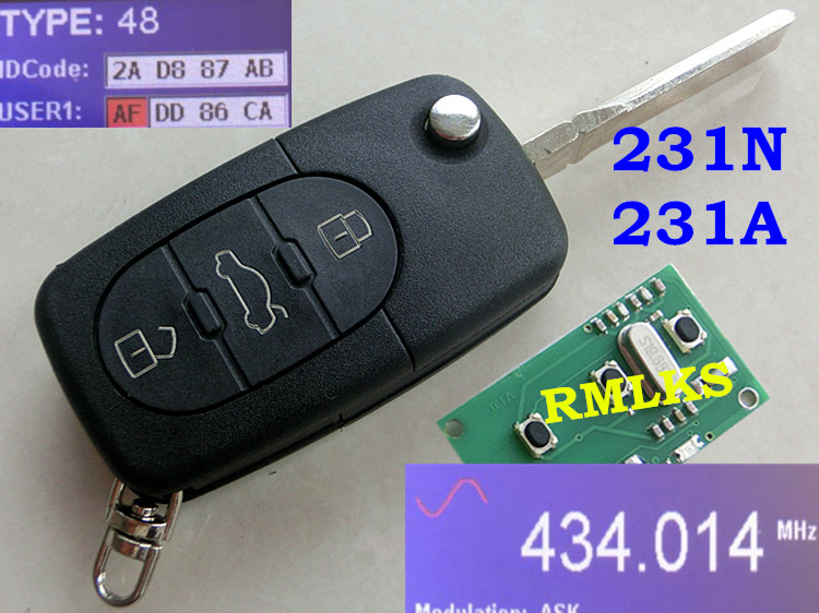 RMLKS Flip Remote Key Fob 315 433.92MHz ID48 Chip 4D0 837 231N 231M 231P 231A 231E HU66 Blade Fit For Audi 8Z0 231G